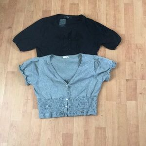 Two Cropped Short Sleeve Cardigans